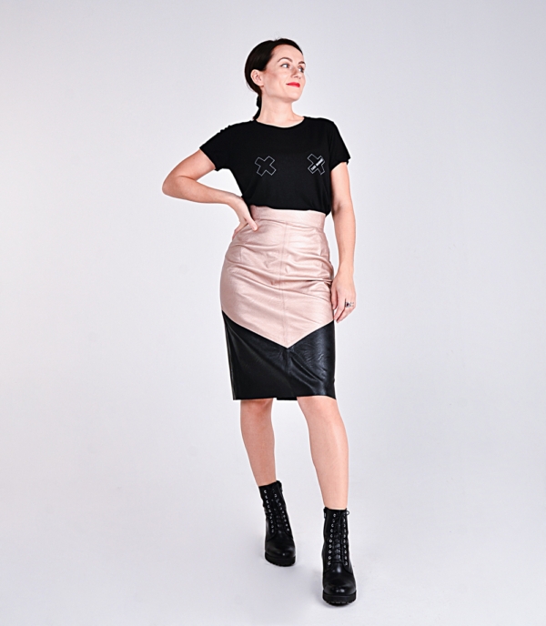 Zack Marquès space leather skirt FRANK rose gold